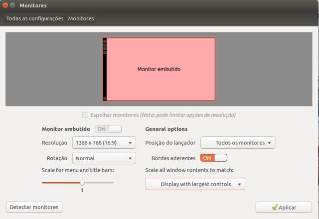 Configurando resolução de tela no Ubuntu