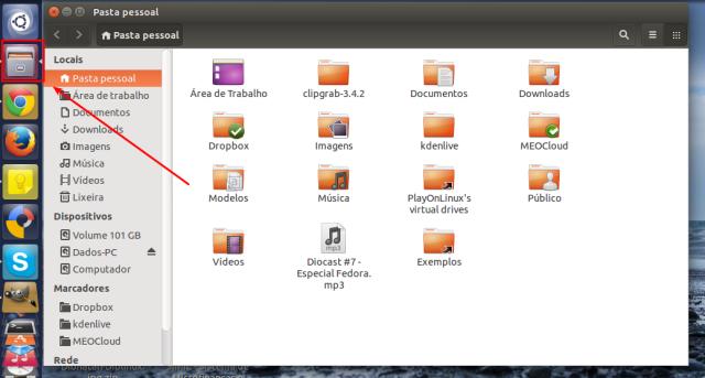 Navegador de arquivos no Ubuntu
