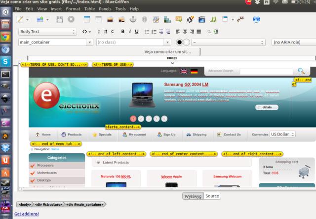 BlueGriffon, alternativa ao Dreamweaver para Linux